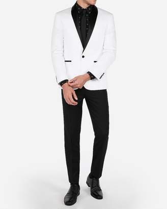 Express Slim White & Black Satin Shawl Collar Tuxedo Jacket