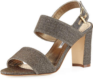 Manolo Blahnik Khans Metallic Two-Band Sandals, Bronze