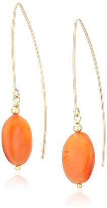 Oval Shape Carnelian with Gold-Filleded Ear Wire Drop Earrings