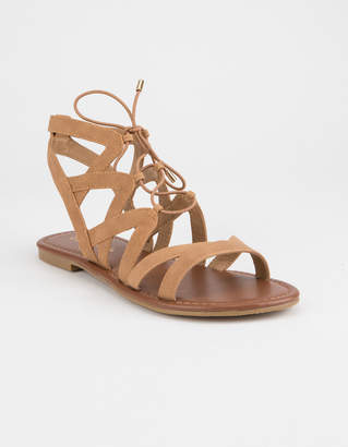 City Classified Strappy Ghillie Tan Womens Sandals