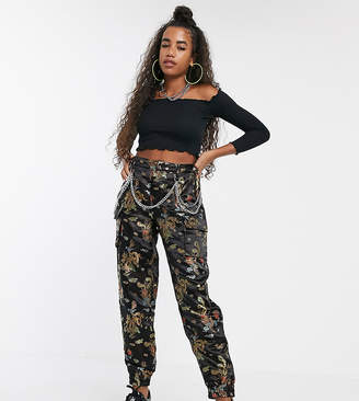 Dragon Optical One Above Another relaxed cargo pants with chain in jacquard