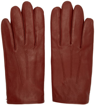 HUGO Red Leather Gloves