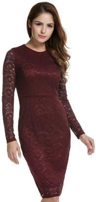 ACEVOG Women's Floral Lace Long Sleeve Bodycon Slim Dress