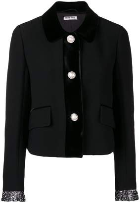 Miu Miu embellished cuff fitted jacket