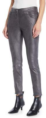 Brunello Cucinelli Metallic-Leather Skinny-Leg 5-Pocket Legging