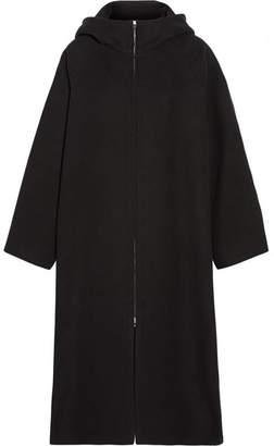 Haylen Hooded Cotton And Wool-blend Coat - Black
