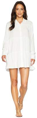 Mod-o-doc Summertime Shirting Tiered Button Tunic Cover-Up Women's Blouse