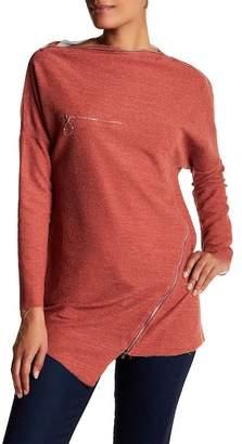 TOV Zip Accent Grain Sweater