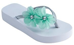 Girls 4-16 Chiffon Flower Wedge Flip Flops $16 thestylecure.com