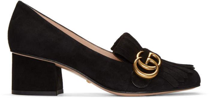 Gucci Black Fringe Marmont Loafer Heels