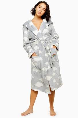 Topshop Womens Petite Cloud Longline Dressing Gown - Grey