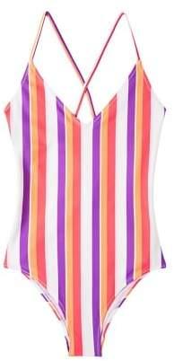 MANGO Striped swimsuit
