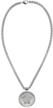 Versace Silver Large Round Medusa Chain Necklace