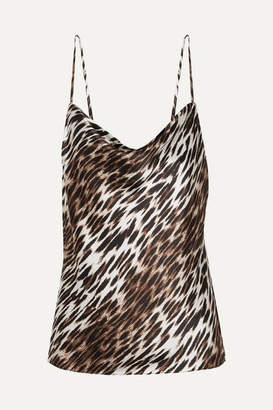 L'Agence Kay Draped Leopard-print Silk-georgette Camisole - Brown