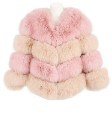Popski London The Kensington Fox Fur Jacket In Nude Pink