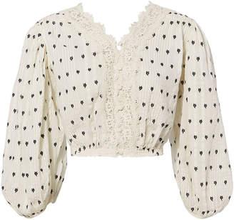 LoveShackFancy Florence Lace Crop Top