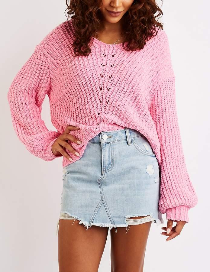 Charlotte Russe Chenille V-Neck Pullover Sweater