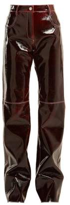 MSGM Relaxed Crinkle Effect Vinyl Trousers - Womens - Burgundy