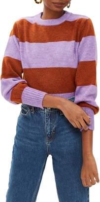 Topshop Bold Stripe Crewneck Sweater