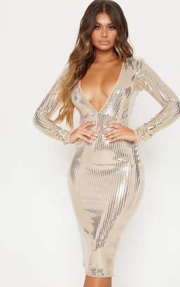 PrettyLittleThing Gold Mirrored Sequin Plunge Long Sleeve Midi Dress