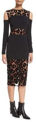 Thierry Mugler Leopard-Burnout Cold-Shoulder Dress, Black $2,800 thestylecure.com