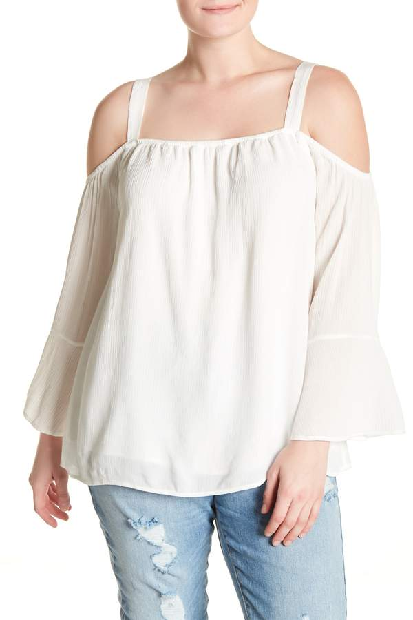Indra Cold Shoulder Bell Sleeve Top (Plus Size)