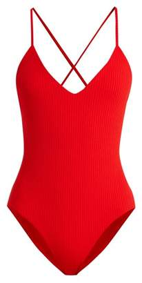 Mara Hoffman Emma V Neck Ribbed Swimsuit - Womens - Red
