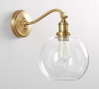 Pottery Barn PB Classic Curved Arm Sconce - Glass Globe