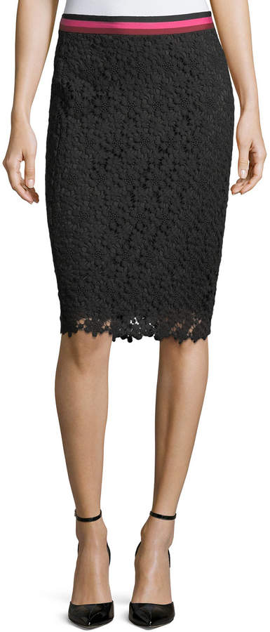 Trina Turk Paltrow Striped-Waist Lace Pencil Skirt