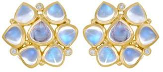 Temple St. Clair 18K Yellow Gold Small Cluster Earrings with Royal Blue Moonstone and Diamonds