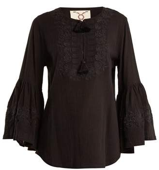 Figue Liza Embroidered Cotton Shirt - Womens - Black