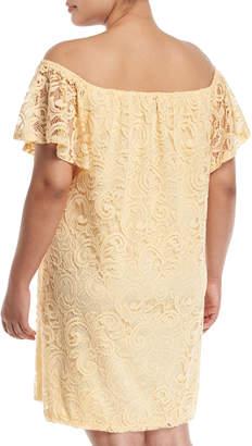 Neiman Marcus Off-The-Shoulder Scalloped Lace Dress, Plus Size