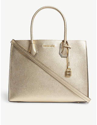 MICHAEL Michael Kors Michael Kors Silver Mercer Leather Tote Bag