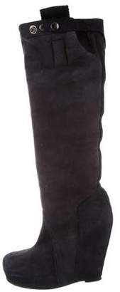 Rick Owens Suede Knee-High Wedge Boots