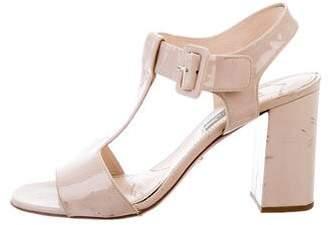 Prada Patent Leather Round-Toe Sandals