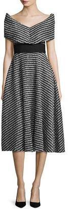 Lela Rose Pleated Gingham V-Neck Dress, Black $1,495 thestylecure.com