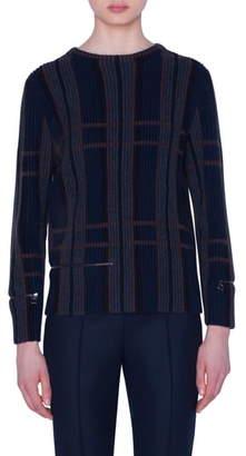 Akris Zip Detail Plaid Jacquard Cashmere & Silk Sweater