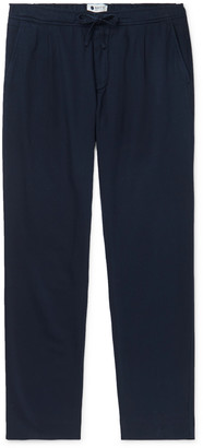 NN07 Domenico Tapered Pleated Cotton, Lyocell and Linen-Blend Drawstring Trousers - Men - Blue
