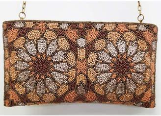 Ricki Designs Zip Top All Beaded Brown Flower Clutch
