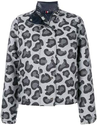 Thom Browne Leopard Wool Jacquard Down Jacket