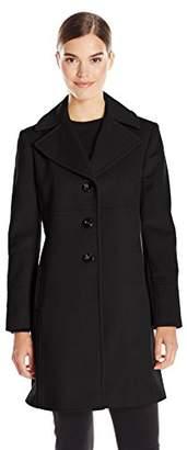Larry Levine Women's Single-Breasted Notch Collar Wool Coat