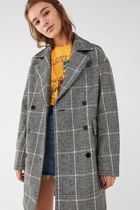 Urban Outfitters Double-Breasted Plaid Overcoat