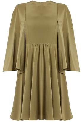 Valentino Cape Sleeve Silk Crepe De Chine Dress - Womens - Green