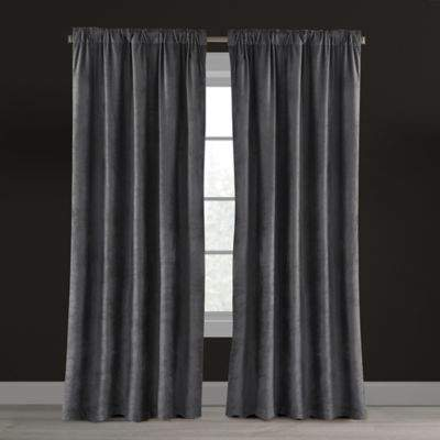 Chic Home Velvet Plush Nest 63-Inch Rod Pocket/Back Tab Lined Window Curtain Panel in Gunmetal