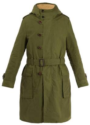 Gucci Teddy Back Embroidered Hooded Cotton Parka Coat - Mens - Green