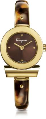 Salvatore Ferragamo Gancino Gold IP Stainless Steel and Brown Acetate Women's Watch w/Brown Dial