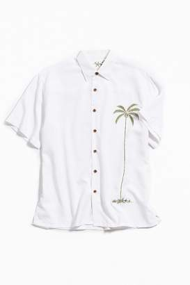 Bamboo Cay Embroidered Palm Short Sleeve Button-Down Shirt