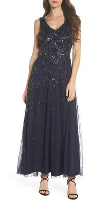 Pisarro Nights 3D Embellished Mesh A-Line Gown