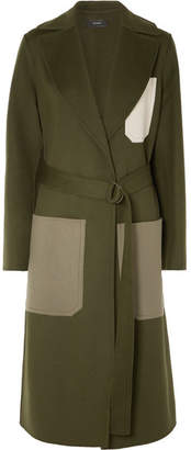 Joseph Color-block Wool And Cashmere-blend Coat - Army green