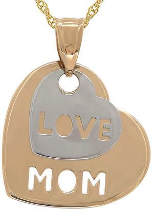 FINE JEWELRY Infinite Gold 14K Gold Two-Tone Mom Love Heart Pendant Necklace